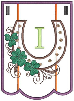 """Shamrock Charm Bunting - Letter - I - Fits a 5 by 7"""" Hoop - Instant Downloadable Machine Embroidery"""