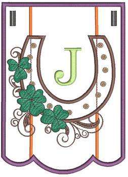 """Shamrock Charm Bunting - Letter - J - Fits a 5 by 7"""" Hoop - Instant Downloadable Machine Embroidery"""