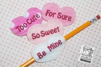 Valentine Sentiments Pencil Holders - Embroidery Design