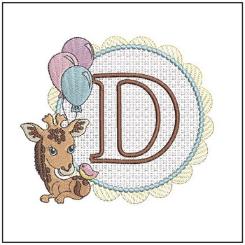 Baby Giraffe Font Applique - D - Embroidery Designs
