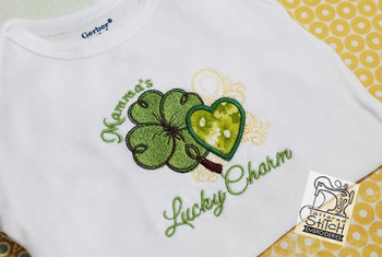 "Mamma's Lucky Charm Applique Fits a 4x4, 5x7 and 6x11"" Hoop - Instant Downloadable Machine Embroidery"
