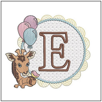Baby Giraffe Font Applique - E - Embroidery Designs
