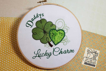 "Daddys Lucky Charm Applique Fits a 4x4, 5x7 and 6x11"" Hoop - Instant Downloadable Machine Embroidery"