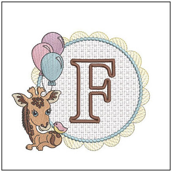 Baby Giraffe Font Applique - F - Embroidery Designs