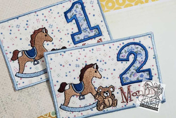 "Monthly Milestones Applique - Teddy Bear & Rocking Horse Bundle 1-4 - Fits into a 5x7"" Hoop - Instant Downloadable Machine Embroidery"