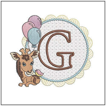 Baby Giraffe Font Applique - G - Embroidery Designs