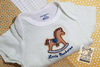 "Little Buckaroo Rocking Horse Applique - Fit a 4x4"" Hoop - Instant Downloadable Machine Embroidery"