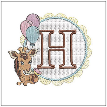 Baby Giraffe Font Applique - H - Embroidery Designs