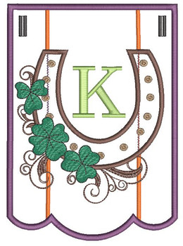 """Shamrock Charm Bunting - Letter - K - Fits a 5 by 7"""" Hoop - Instant Downloadable Machine Embroidery"""