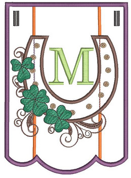 """Shamrock Charm Bunting - Letter - M - Fits a 5 by 7"""" Hoop - Instant Downloadable Machine Embroidery"""
