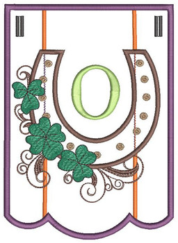 """Shamrock Charm Bunting - Letter - O - Fits a 5 by 7"""" Hoop - Instant Downloadable Machine Embroidery"""