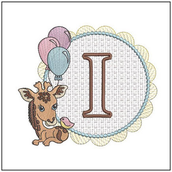 Baby Giraffe Font Applique - I - Embroidery Designs
