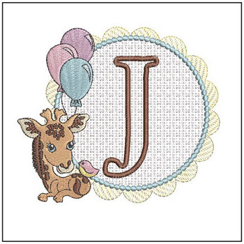 Baby Giraffe Font Applique - J - Embroidery Designs