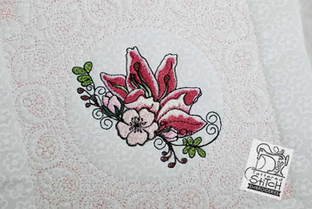 """Cherry Blossom Lilly Quilt Block - 6x6"""" and 8x8"""" - Instant Downloadable Machine Embroidery"""