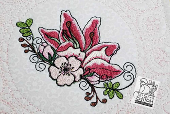 "Cherry Blossom Lilly Quilt Block - 6x6"" and 8x8"" - Instant Downloadable Machine Embroidery"