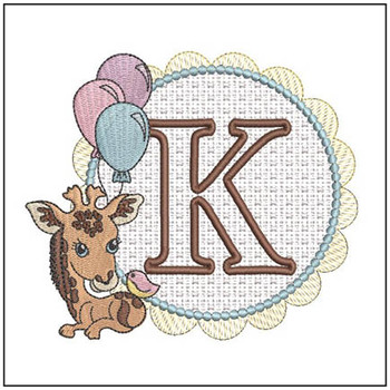 Baby Giraffe Font Applique - K - Embroidery Designs