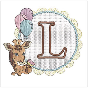 Baby Giraffe Font Applique - L - Embroidery Designs