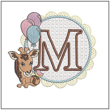 Baby Giraffe Font Applique - M - Embroidery Designs