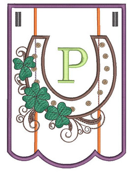 """Shamrock Charm Bunting - Letter - P - Fits a 5 by 7"""" Hoop - Instant Downloadable Machine Embroidery"""
