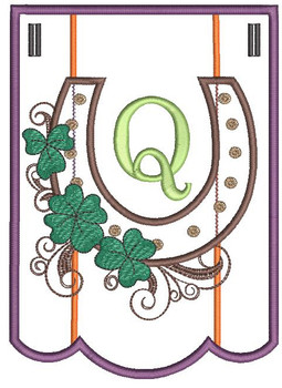 """Shamrock Charm Bunting - Letter - Q - Fits a 5 by 7"""" Hoop - Instant Downloadable Machine Embroidery"""