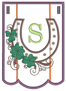 """Shamrock Charm Bunting - Letter - S - Fits a 5 by 7"""" Hoop - Instant Downloadable Machine Embroidery"""