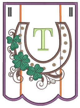 """Shamrock Charm Bunting - Letter - T - Fits a 5 by 7"""" Hoop - Instant Downloadable Machine Embroidery"""