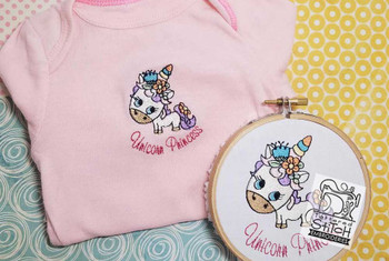 "Unicorn Princess- Fits a 4 by 4"" Hoop - Instant Downloadable Machine Embroidery"