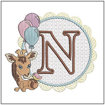 "Baby Giraffe Font Applique - N - Fits into a 5x7"" Hoop - Instant Downloadable Machine Embroidery"