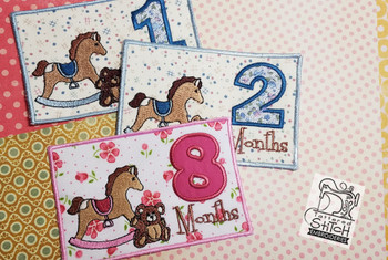 "Monthly Milestones Applique - Teddy Bear & Rocking Horse Bundle 9-12 - Fits into a 5x7"" Hoop - Instant Downloadable Machine Embroidery"
