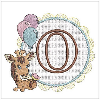 Baby Giraffe Font Applique - O - Embroidery Designs