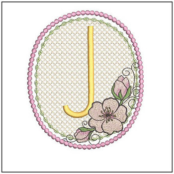 Cherry Blossom Font - J - Embroidery Design