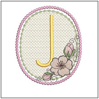 Cherry Blossom Font - J - Embroidery Design