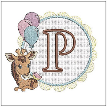 Baby Giraffe Font Applique - P - Embroidery Designs
