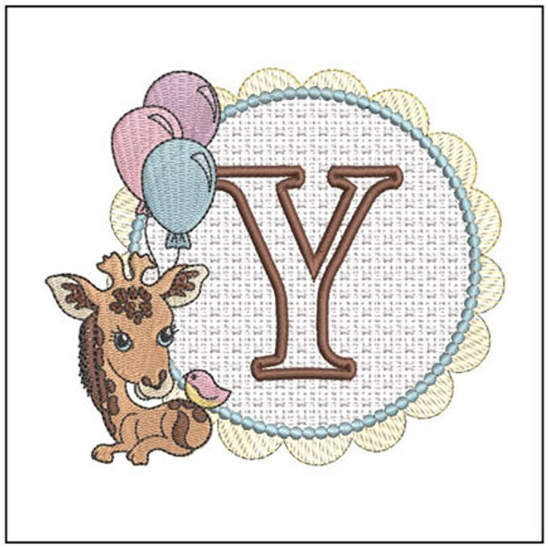 """Baby Giraffe Font Applique - Y- Fits into a 5x7"""" Hoop - Instant Downloadable Machine Embroidery"""