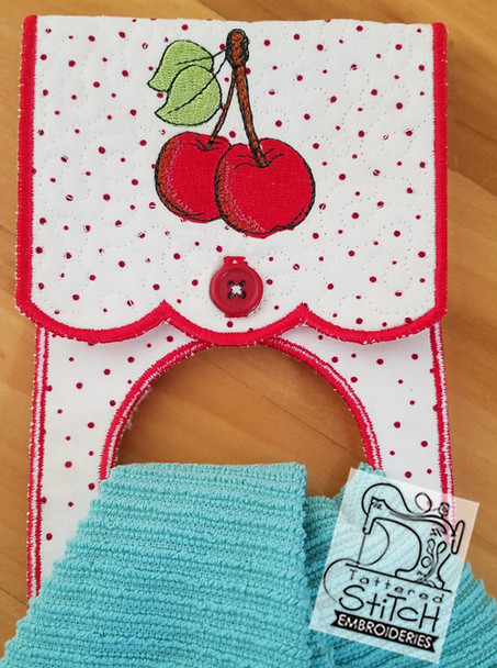 """Cherry Towel Holder- Fits an 8 by 12"""" Hoop - Instant Downloadable Machine Embroidery"""