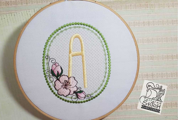 "Cherry Blossom Font - X - Fits into a 5x7"" Hoop - Instant Downloadable Machine Embroidery"