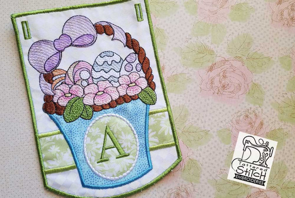 "Easter Basket Bunting - Bundle- Letters - A-E - Fits a 5 by 7"" Hoop - Instant Downloadable Machine Embroidery"
