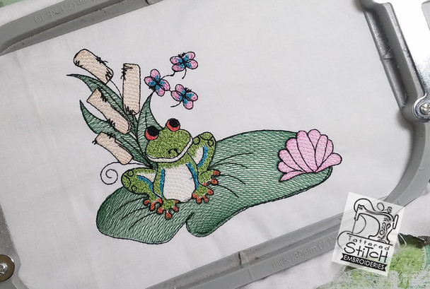 Loungin Lily Pad - (No Letter) - Embroidery Designs