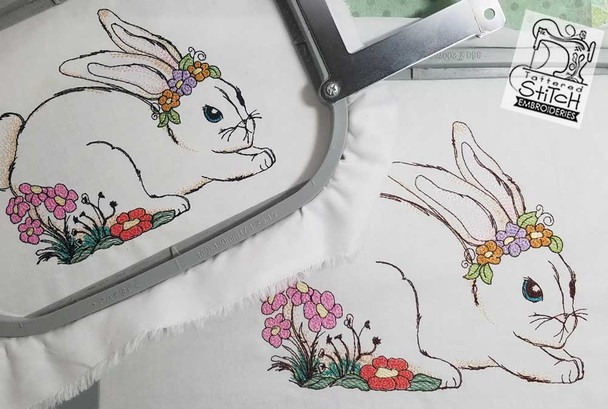 """Bunny with Floral Wreath - 5x7 and 8x8"""" Hoop Sizes - Instant Downloadable Machine Embroidery"""