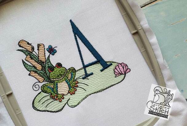 """Loungin Lily Pad - G - Fits in a 4x4"""" Hoop - Instant Downloadable Machine Embroidery"""
