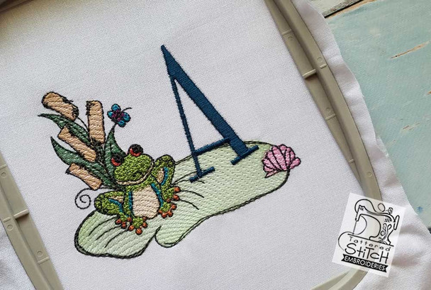 Loungin Lily Pad - J - Embroidery Designs