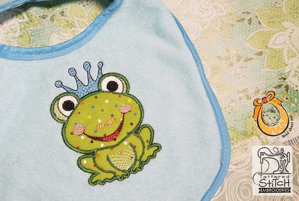 """Frog Prince Applique - 4x4 & 5x7 """" Hoop Size - Instant Downloadable Machine Embroidery"""