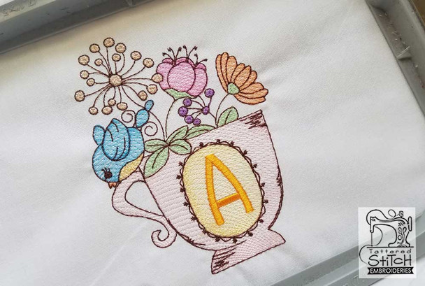 Floral Finch Teacup- K -Embroidery Designs