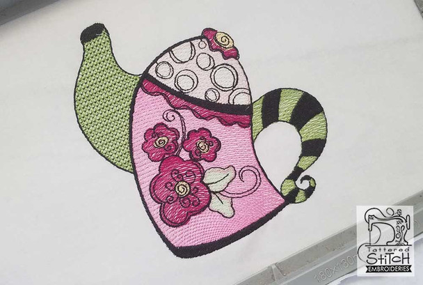 """Whimsy Teapot 1 - Fits a 5x7"""" Hoop Size - Instant Downloadable Machine Embroidery"""