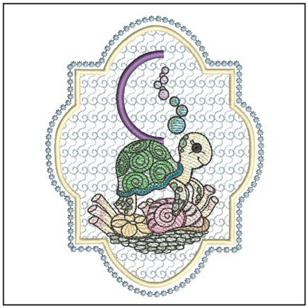 "Turtle ABC's - C - Fits in a 5x7"" Hoop - Instant Downloadable Machine Embroidery"
