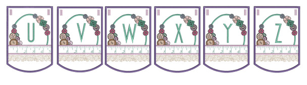 "Notions Sewing Bunting - Bundle- Letters - U-Z - Fits a 5 by 7"" Hoop - Instant Downloadable Machine Embroidery"
