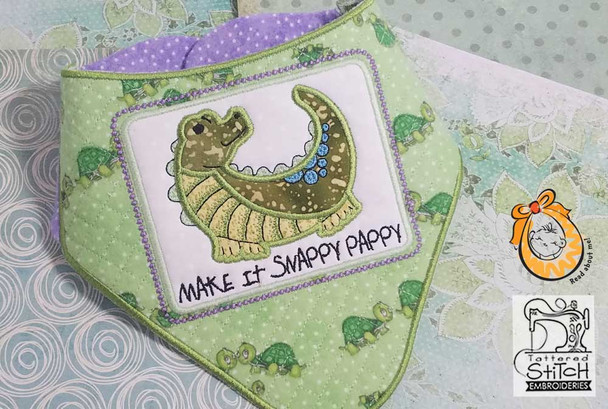 """Baby Alligator Bandanna Bib - Uses a 4x4"""" 5x7 and 8x12"""" Hoop - Instant Downloadable Machine Embroidery"""