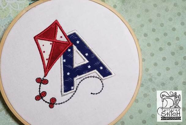 "Flying High Kite Applique Font J - Fits in a 4x4"" Hoop - Instant Downloadable Machine Embroidery"