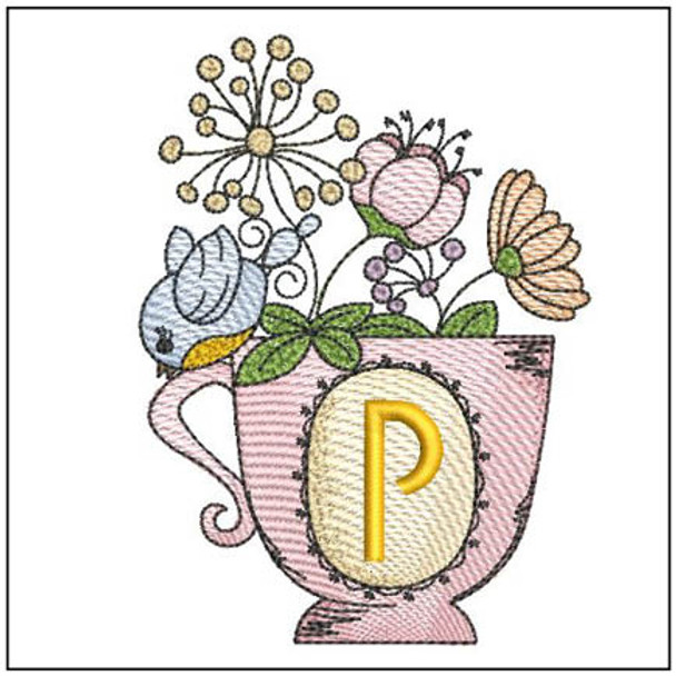 """Floral Finch Teacup P - Fits in a 5x7"""" Hoop - Instant Downloadable Machine Embroidery"""