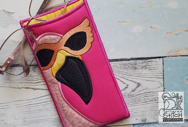 Pink Flamingo Glasses Case - Embroidery Designs